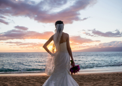 Maui Wedding Photography with bride & silouette